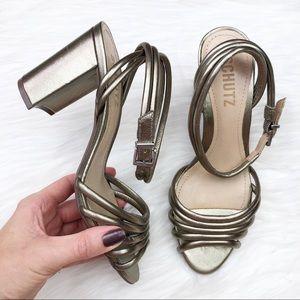New Schutz Nicolai Metallic Leather Strappy Sandal